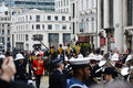 Baroness thatcher s funeral london uk april th coffin is carried on a gun carriage on its way to st paul cathedral Stock Images