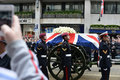 Baroness thatcher s funeral london uk april th coffin is carried on a gun carriage on its way to st paul cathedral Stock Image
