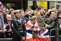 Baroness thatcher s funeral london uk april th soldier lining procession route on ludgate hill Stock Photo