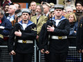 Baroness thatcher s funeral london uk april th soldiers lining procession route on ludgate hill Royalty Free Stock Images