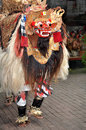 Barong lion character dances on stage bali indonesia during a performance in Stock Photography