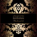 Baroque background with antique, luxury black and gold vintage frame, victorian banner, damask floral wallpaper ornaments Royalty Free Stock Photo