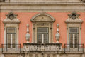 Baroque balcony and windows. Foz palace. Lisbon. Portugal Royalty Free Stock Photo