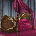 Baroque bed vintage bedroom with a fancy Royalty Free Stock Photos