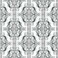 Baroque black and white creative seamless pattern. Vector orname