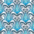 Baroque blue silver seamless pattern. Vector floral background w Royalty Free Stock Photo