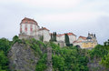 Baroque castle vranov nad dyji sitting on the steep cliff Stock Photos