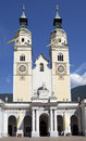 Baroque cathedral face view to twin towers of of brixen italy Royalty Free Stock Photos