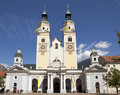 Baroque cathedral face view to twin towers of of brixen italy Stock Photos