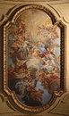 Baroque ceiling fresco in Santa Cecilia church, Rome, Italy Royalty Free Stock Photo