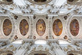 Baroque ceiling frescoes of St. Stephen`s cathedral in Passau, Germany. Royalty Free Stock Photo