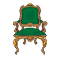 Baroque chair colored doodle hand drawn illustration of an antique furniture piece with green upholstery decorated with colored Stock Image