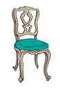 Baroque chair rococo colored doodle hand drawn illustration of a decorated antique furniture piece with light green upholstery Stock Photo
