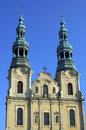 Baroque church towers in poznan Stock Image
