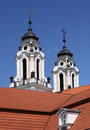 Baroque church two towers against clear blue sky in vilnius capital of lithuania Royalty Free Stock Photography