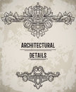 Baroque classic style border. Antique cartouche. Vintage architectural details design elements on grunge background. Royalty Free Stock Photo