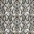 Baroque damask vector seamless pattern. Floral silver background Royalty Free Stock Photo