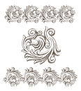 Baroque elements drawn by hand Royalty Free Stock Photo