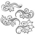 Baroque engraving leaf scroll Royalty Free Stock Photo