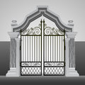 Baroque entrance gate iron fence vector illustration Royalty Free Stock Image