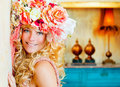 Baroque fashion blonde woman with flowers hat Stock Photos