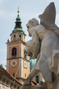 Baroque fountain in the historic center of Ljubljana Royalty Free Stock Photo
