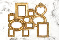 Baroque frame golden framework marble background Royalty Free Stock Photo