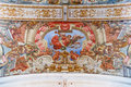 Baroque frescoes in the ceiling of Hospital de Jesus Cristo Church. Royalty Free Stock Photo