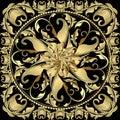 Baroque gold 3d mandala pattern. Vintage ornamental panel design Royalty Free Stock Photo