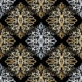 Baroque gold silver seamless pattern. Vintage floral background. Royalty Free Stock Photo