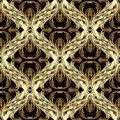 Baroque gold  vector seamless pattern. Antique floral background Royalty Free Stock Photo