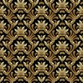 Baroque gold vector seamless pattern. Floral background wallpape Royalty Free Stock Photo