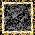 Baroque golden chain background. Golden heart. love design