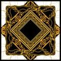 Baroque golden chain scarf pattern design