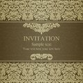 Baroque invitation dull gold card in old fashioned style Royalty Free Stock Photo