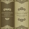 Baroque invitation dull gold card in old fashioned style Stock Photos