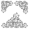 Baroque leaf frame swirl decorative design element Royalty Free Stock Photo
