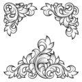 Baroque leaf frame swirl decorative design element Royalty Free Stock Photo