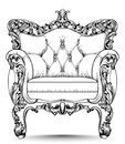 Baroque luxury armchair. Furniture with Victorian ornamented decor. Vector realistic designs