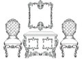 Baroque luxury style furniture dressing table and chairs set collection. Upholstery with luxurious rich ornaments