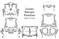 Baroque luxury style furniture set collection. Upholstery with luxurious rich ornaments. French carved decoration