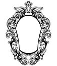 Baroque mirror frame. Vector Imperial decor design elements. Rich encarved ornaments line arts