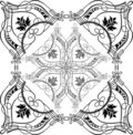 Baroque Ornate Calligraphy Quad Stock Photography