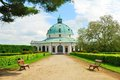 Baroque pavillon with a footpath and park benches in kromeriz czech republic Royalty Free Stock Photography