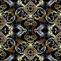 Baroque seamless pattern. Black vector damask background wallpaper with vintage gold silver flowers, scroll leaves, rhombus, mean