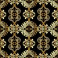 Baroque seamless pattern. Greek vector background. Vintage gold