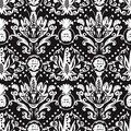 Baroque seamless pattern vector floral for your background design Stock Images