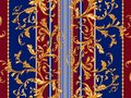 Baroque striped seamless pattern with golden leaves and chains. Striped patch for scarfs, print, fabric