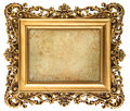 Baroque style golden picture frame with canvas isolated on white background for your photo image Stock Photo