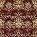 Baroque vector seamless pattern. Damask dark red floral background wallpaper illustration with vintage gold line art tracery flow